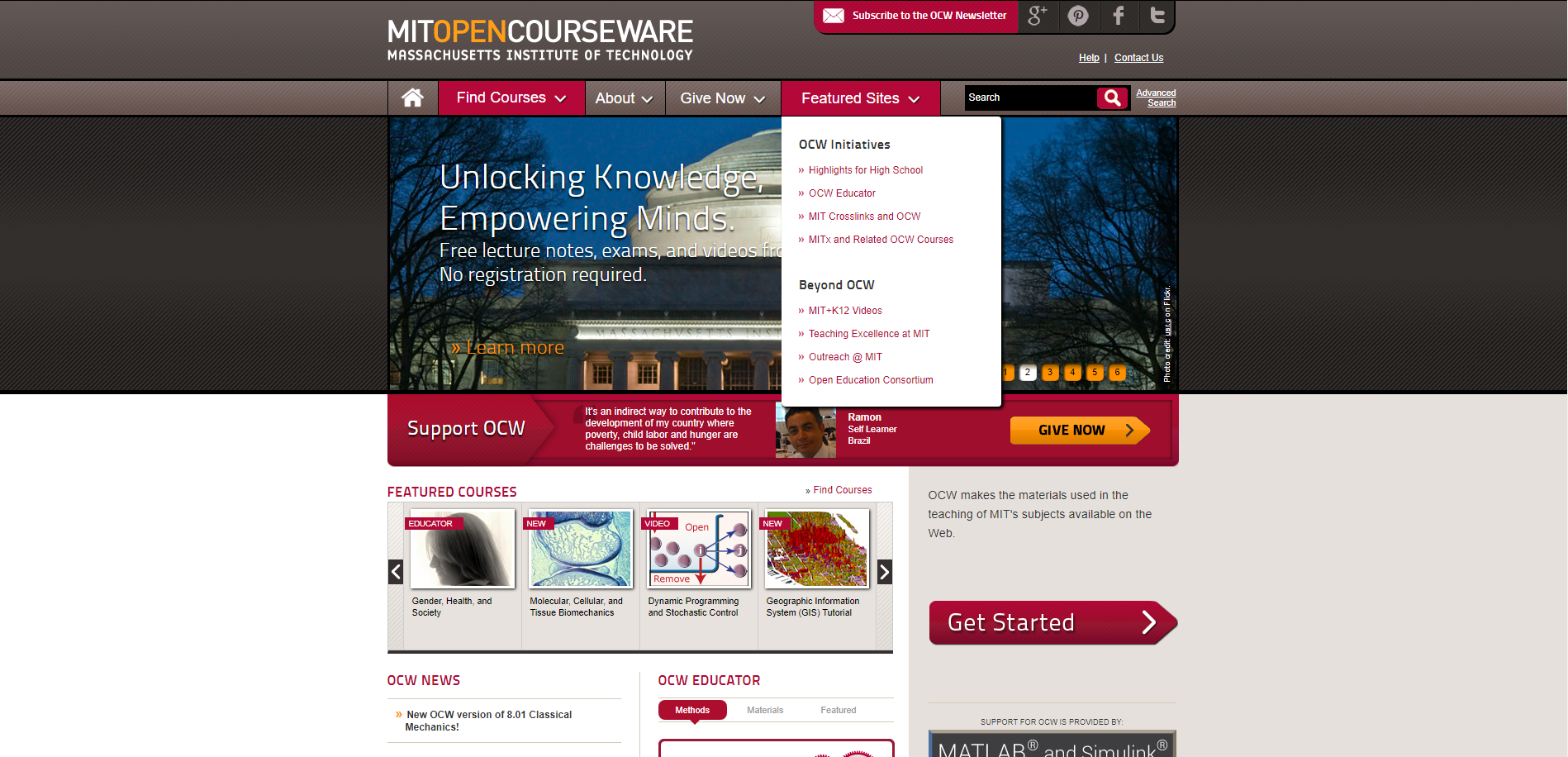 mit opencourseware python Past classes have been loosely based on python crash course: a hands-on,   this mit opencourseware class is available online and for you to use at your.